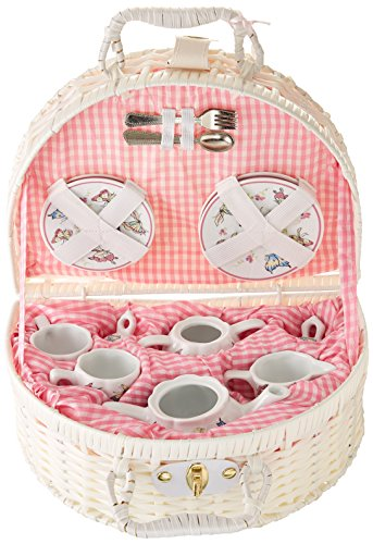 Delton Products Pink Butterfly Children's Tea Set with Basket (Childrens Basket Set Tea)