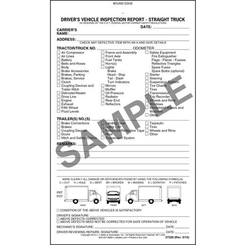 (Detailed Driver's Vehicle Inspection Report - Straight Truck, Book Format - Stock (Qty: 10 Units))
