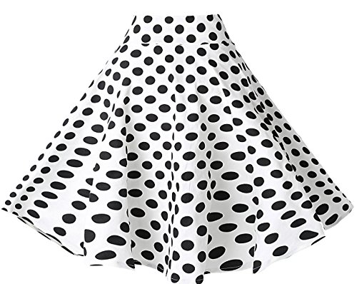 (BI.TENCON Women Vintage Skirt Polka Dot Smock Waist Rockabilly Swing Casual Party Skirts (XXX-Large_waist-32