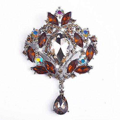 Yilanair Wedding Bridal Big Crystal Rhinestone Bouquet Brooch Pin for ()