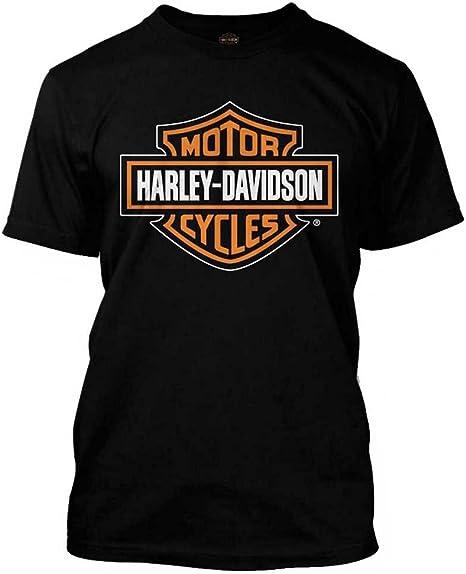 HARLEY DAVIDSON Men's Orange Bar & Shield Black T Shirt 30290591