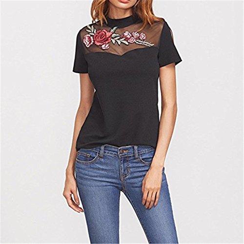 Bluse Tops Oberteil Bedruckte Eine Rose O-ausschnitt Kurzarm Schwarz Sommer Damen T-shirt Stickerei 1 Mode