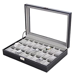 SONGMICS 24 Watch Box Large Watch Case Glass Top Black Display Organizer Faux Leather UJWB024