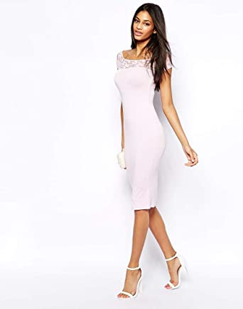 6bb8717d697ae ASOS Lace Insert Bardot Midi Dress  Amazon.co.uk  Clothing