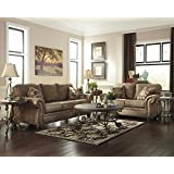 Larkinhurst Traditional Earth Color Faux Leather Sofa And Loveseat