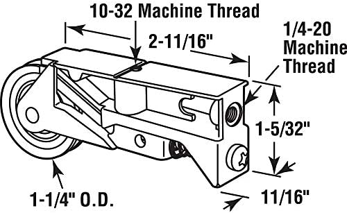 Pack of 1 Prime-Line Products 132318 Single 1-1//4 inch Steel Roller Assembly Diecast Unique Housing