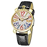 Women Automatic Mechanical Wrist Watch - WINNER Fashion Women Automatic Mechanical Wrist Watch Colorful Hour Markers, White+gold