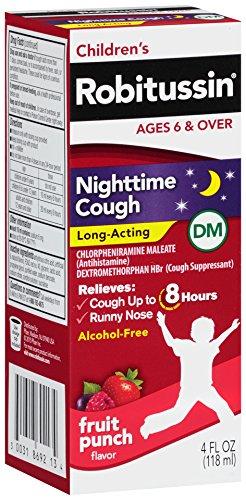 Children's Robitussin Cough Long-Acting (4 fl. oz, Fruit Punch Flavor), 8-Hour Cough Suppressant, Alcohol-Free, Ages - Alcohol Cough Suppressant