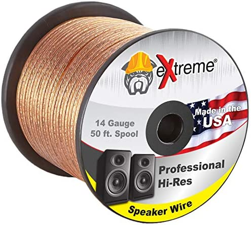 Professional Grade 14 Gauge Speaker Cable – Pure Stranded Copper Speaker Wire in 50 Feet for Car Audio, Home Theater Systems, Radio Speakers, Any Audio Application by eXtreme Consumer Products