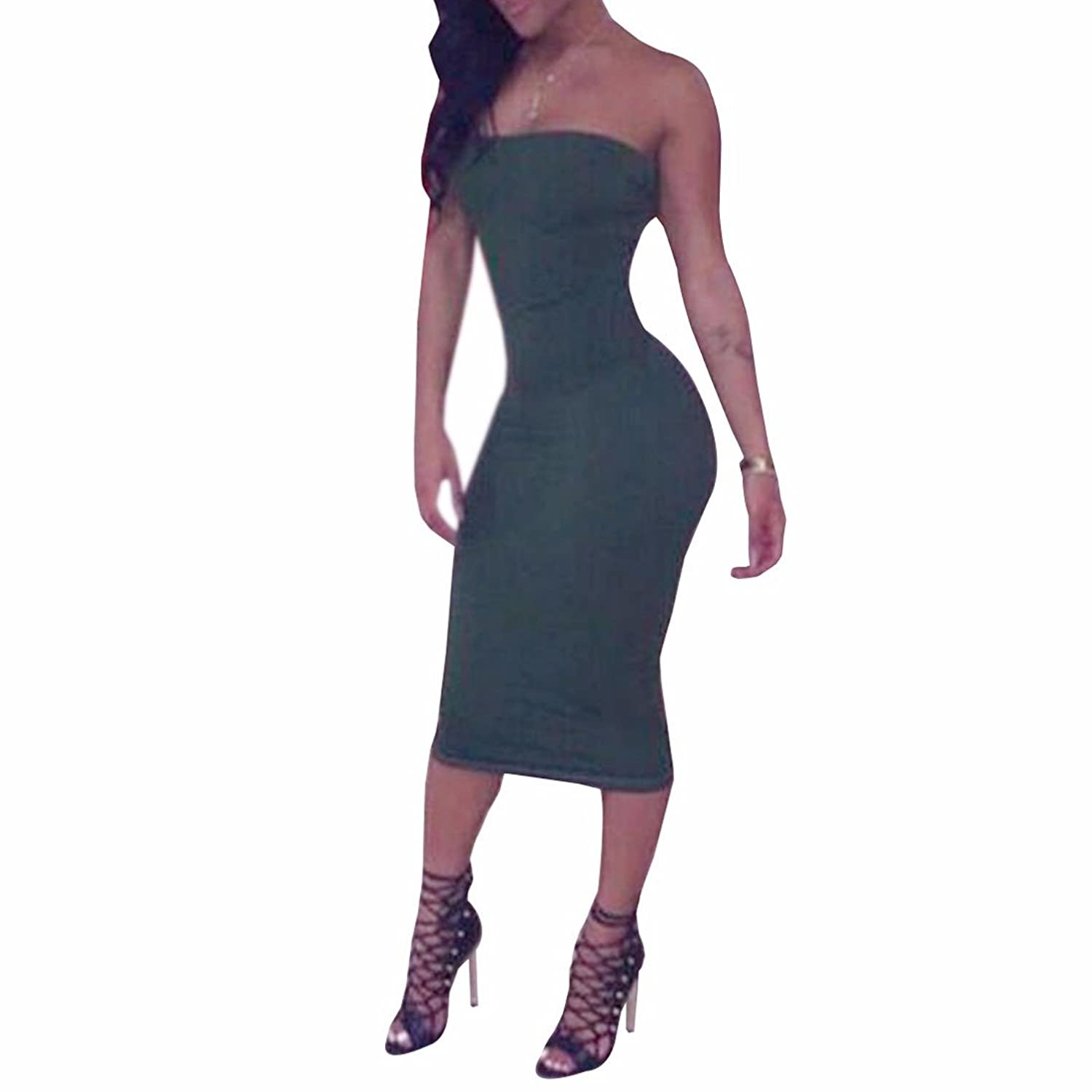 Sexy Green Women Lady Strapless Clubwear Party Package Hip Bodycon Maxi Dress