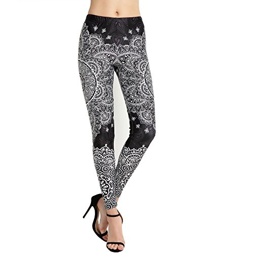 Idingding Womens Hot Sale Galaxy Star Printed High Waist Leggings Pants, Black Lotus, - Black Clothing Lotus