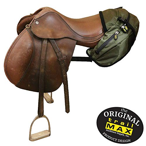 TrailMax English/Endurance Horse Saddle Bag for Trail-Riding, Featuring 3 Compartments & Quick Release Compression Straps, Sage Green