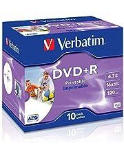 Verbatim DVD + R 4,7 GB - 16x brandsnelheid, lange levensduur, krasbescherming, 10 Pack Branded Jewel Case