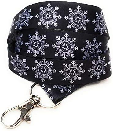 Schlüsselband für Ausweishalter, Schneemann, Schneeflocke, Santa Rudolph Schneeflocke in schwarz