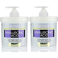 Advanced Clinicals Anti-aging Hyaluronic Acid Cream for face, body, hands. Instant hydration for skin, spa size. (Two…