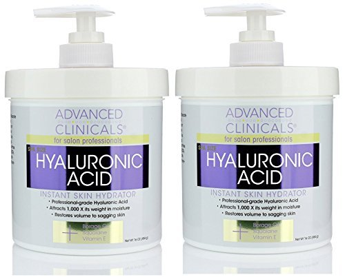 Advanced Clinicals Anti-aging Hyaluronic Acid Cream for face, body, hands. Instant hydration for skin, spa size. (Two - 16oz) (Best Hyaluronic Acid Reviews)