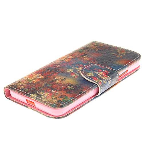 Lumia 640 / Nokia N640 Hülle, Microsoft Lumia 640 / Nokia N640 (5,0 Zoll) Wallet Tasche Brieftasche Schutzhülle, Carols PU Lederhülle Flip Hülle im Bookstyle Cover Schale Stand Ständer Etui Karten Slo Rote Blätter