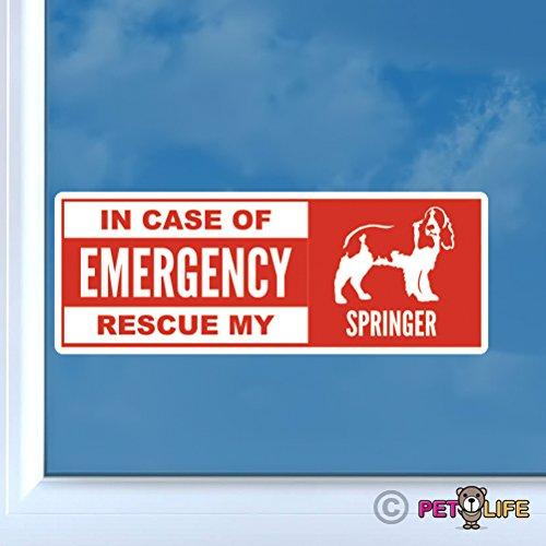 Mister Petlife In Case of Emergency Rescue My Springer Sticker Vinyl Auto Window dog safety spaniel ()