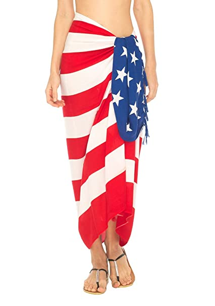 3bf70c477e SHU-SHI Womens Beach Swimsuit Cover Up American Flag Sarong Wrap   Coconut  Clip at Amazon Women s Clothing store