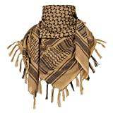 TACVASEN Men's Army Military Tactical Arab Tassel Kerchief Keffiyeh Shemagh Tan