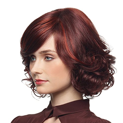 Mermaid Women Short Curly Sexy Hair Wigs Wave Bob Wig with Side Bangs Halloween Chrismas Custom Cosplay Party (Red (Red Wig With Bangs)