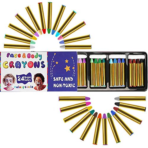24 Colors Face Paint Crayons Safe Non-Toxic Face and Body Painting Toy Birthday Party Favors Makeup Kits for Kids
