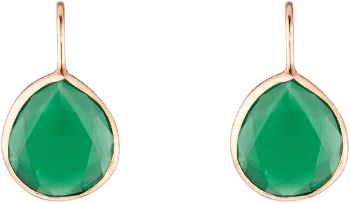 Córdoba Jewels | Pendientes en plata de ley 925 bañados en oro rosa con piedra semipreciosa. Diseño Luxury Mini Gota Esmeralda Rose Gold