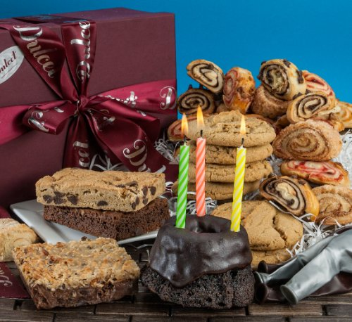 Dulcet Happy Birthday Gift Basket-Chocolate Bundt, Walnut Brownies,Chocolate Chip Fudge,Chocolate Chip Cookies,Assorted Rugelach. Birthday Candles! Best Gift Idea! (Baked Good Gift Baskets)