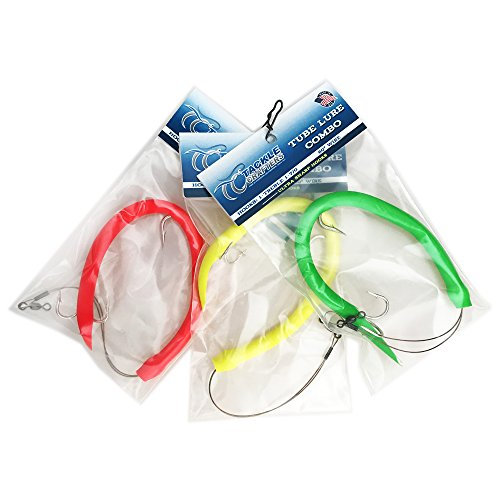 Tackle Crafters Tube Lure Saltwater Fishing Lures Combo 3 Pack Red, Yellow, Green - Made in The - Lures Tube