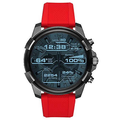 Diesel On Men's Full Guard Gunmetal and Red Silicone Smartwatch DZT2006