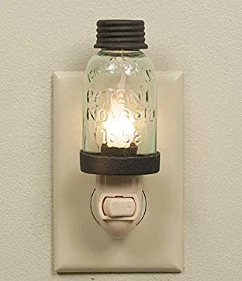 Colonial Tin Works Wrought Mason Jar Antique Style Nightlight