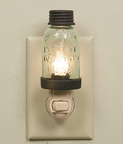 Mini Mason Jar Night Light in Rustic Brown Metal (Candle Wall Light)