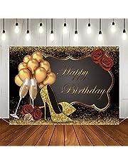Verjaardagsdecoratie voor vrouwen 30e 40e 50e 60e verjaardag achtergrond stoffen bord poster rode roos, gouden ballonnen, zwart goud foto booth achtergrond alles goed voor verjaardag feestbanner