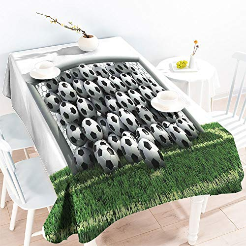ScottDecor for Spring/Summer Tablecloth Rectangular Table Covers Goal Net Full of Soccer Balls on The Football Field Schoolyard Victory W 70