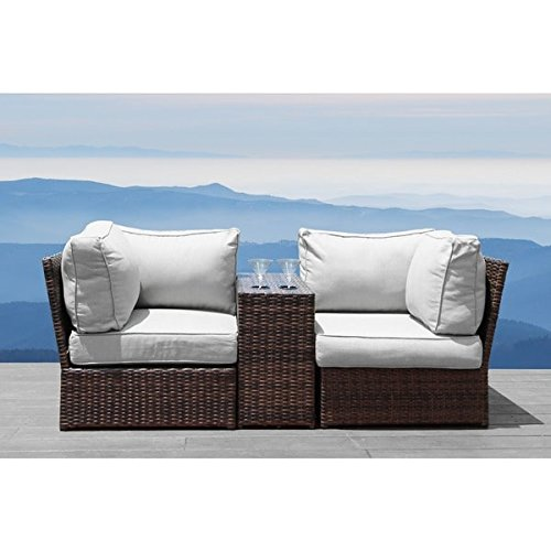 Cheap Lucca Brown Wicker Cup Holder Table and Loveseat by Living Source International Lucca Brown Wicker Cup Holder Table and Loveseat by Living Source International (3 Piece Loveseat)