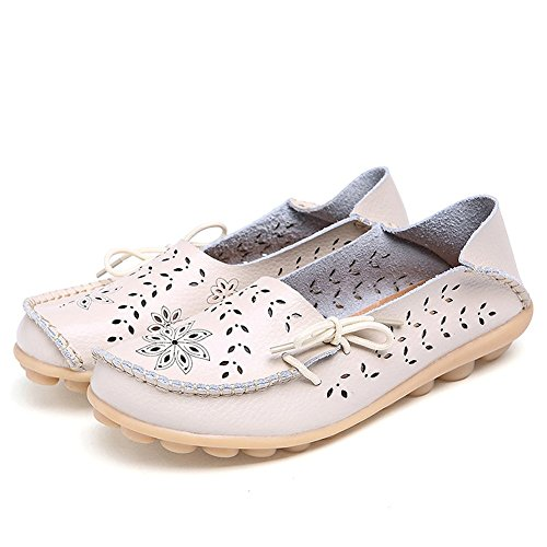 Floral Flat Leather Froon Beige Knot Casual Shoes Driving Laces out Hollow Womens Loafers Bow q1CIz