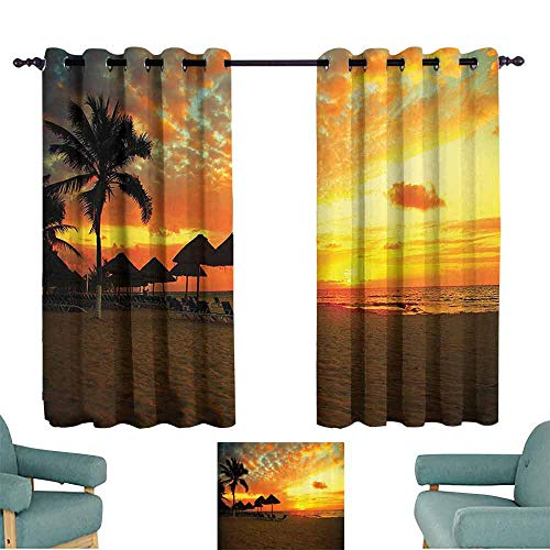 DILITECK Heat Insulation Curtain Seaside Decor Sunset Scene at Beach Resort Silhouette Romantic Honeymoon Vacation Photo Print Tie Up Window Drapes Living Room W84 xL72 Orange Yellow (Top Romantic Vacation Spots In The Us)