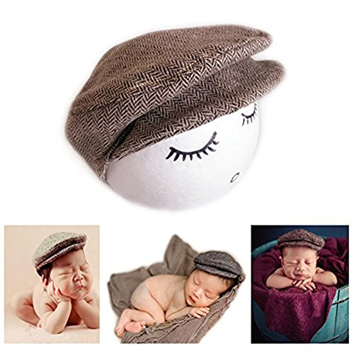 Vemonllas Fashion Newborn Boy Girl Costume Outfits Baby Photography Props Hat Gentleman Cap (Coffee)