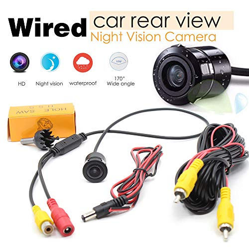 (Zeroarea Wired Back Up Reverse Camera 170° Color Night Vision for Car Truck ED DC 12V Black)