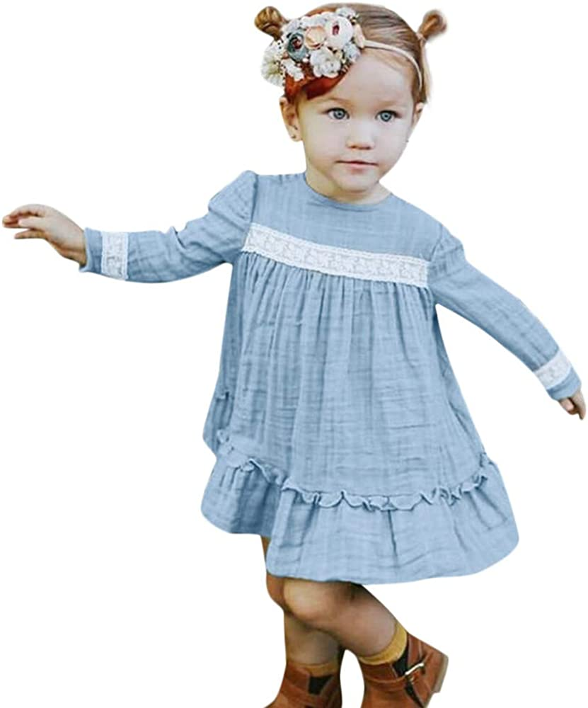 KONFA Toddler Baby Girl Floral Lace Dress,for 0-4 Years Old,Little Princess Long Sleeve Skirt Clothing Set