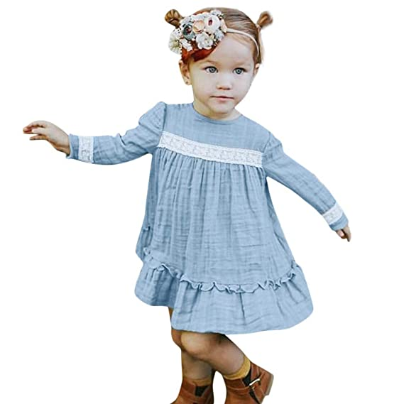 bbe28c9fc QinMM 0-3 años Vestido de Princesa Encaje de sólido de Volantes ...