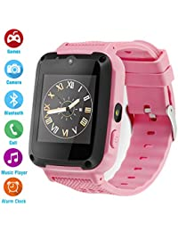 Kids Phone Smartwatch Games 1.54 inch Touch Screen Music Player Two-Way Call HD Camera Bluetooth (Pink)