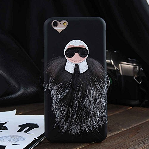 Price comparison product image iPhone 6 / 6s Case, Soft TPU Back Skins, Plush Faux Fur Bugs, Black and Gray Color, Stylish Design, Heart Shaped Camera Cutout, For Girls Women