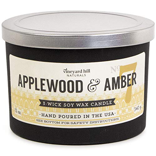 Vineyard Hill Naturals Matte Black Letterpress 3-Wick Scented Candle, 12-Ounce, Applewood & Amber