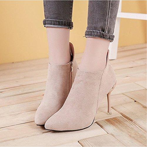 Invierno Moda de botas Negro Beige HSXZ Casual Black rojo señaló talón Mid Toe mujer cachemir botas Stiletto Zapatos para Calf botas 6wI65qX