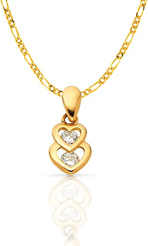 14K Yellow Gold Sweet 15 Years Quinceanera Heart Cubic Zirconia CZ Charm Pendant with 1.6mm Figaro 3+1 Chain Necklace