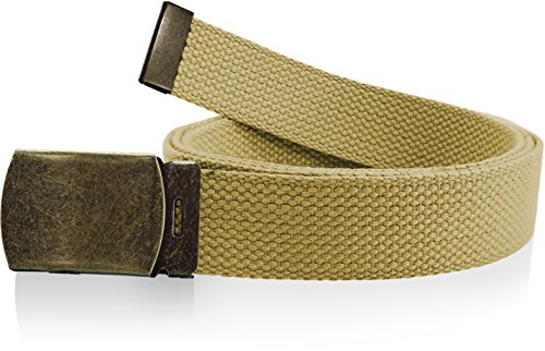 Adjustable Canvas Belt Woven Military Mens Womens Roller Buckle Khaki Tan 56 Inch
