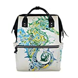 Diaper Bags Backpack Purse Mummy Backpack Fashion Mummy Maternity Nappy Bag Cool Cute Travel Backpack Laptop Backpack with Hippocampus Texture Daypack for Women Girls Kids
