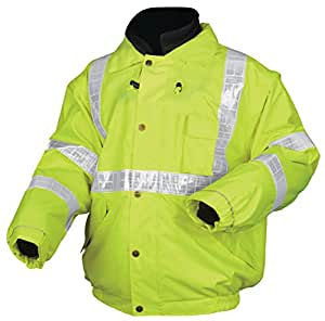MCR Safety BPCL3LL Luminator Class 3 Insulated Polyester 4-in-1 Bomber Plus Jacket with Zip-in Fleece Liner and Detach Sleeves, Fluorescent Lime Green, Large