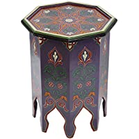 Moroccan Handmade Wood Table Side Moucharabi Delicate Hand Painted Purple Exquisite